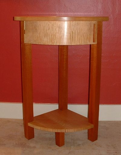 Quarter Round Side Table With Swing Out Drawer In Tiger Maple U0026